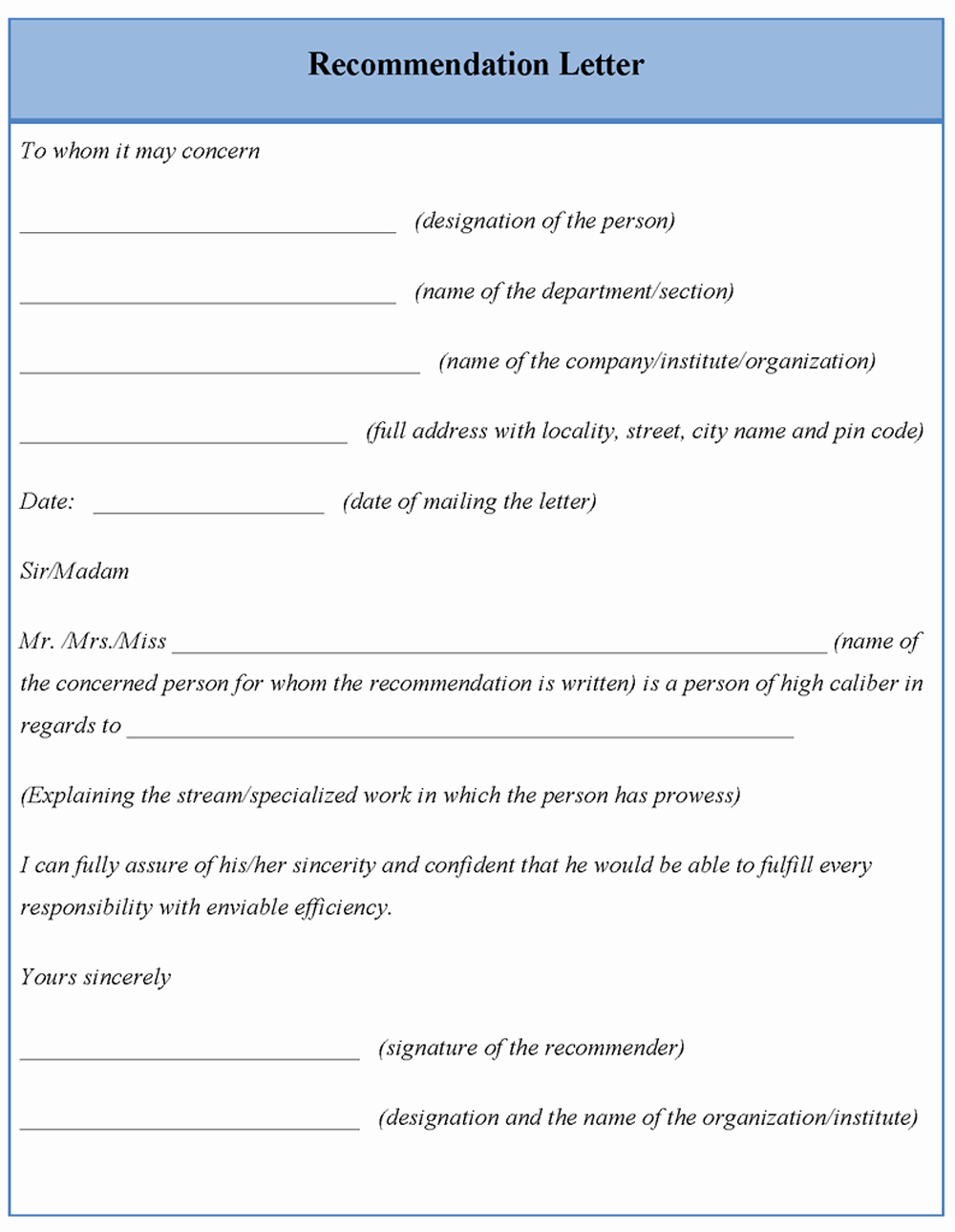 Template for Letter Re Mendation