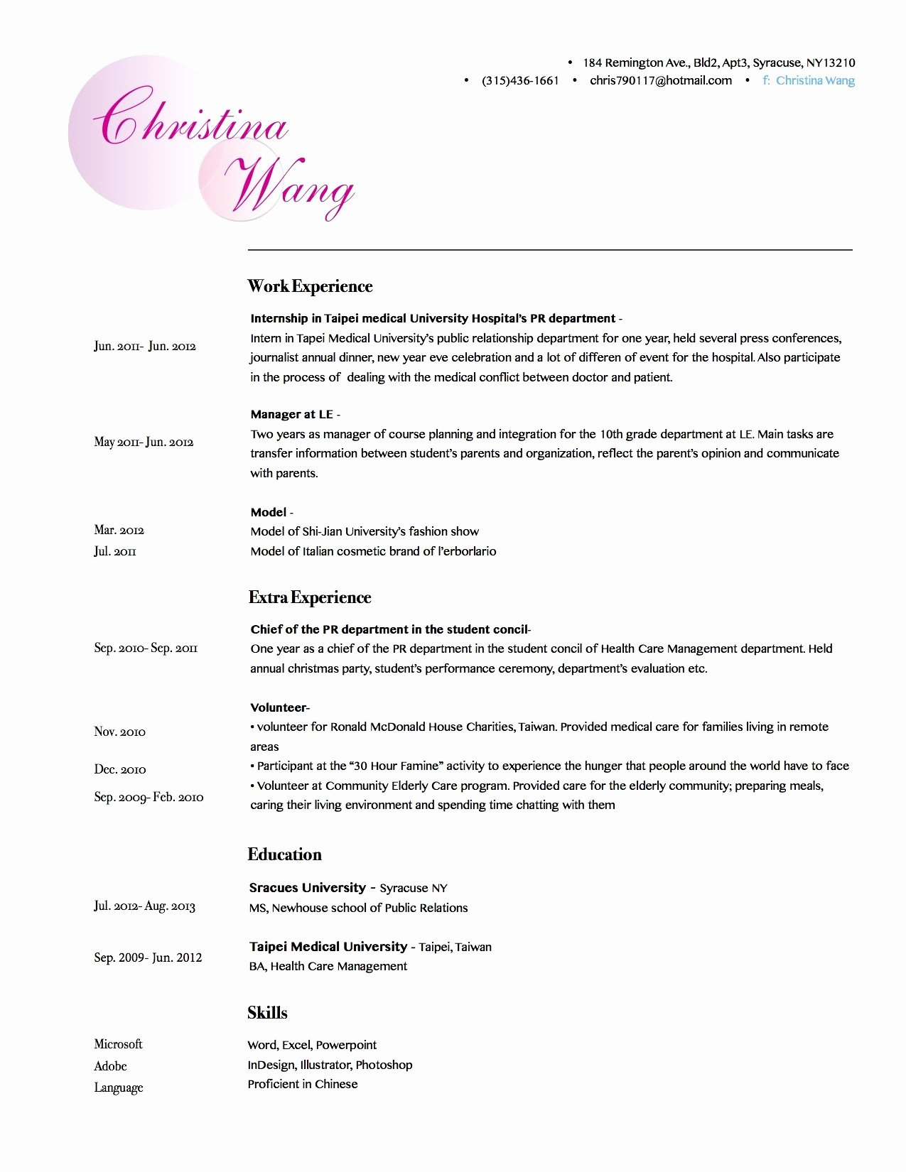 Template for Makeup Artist Resume