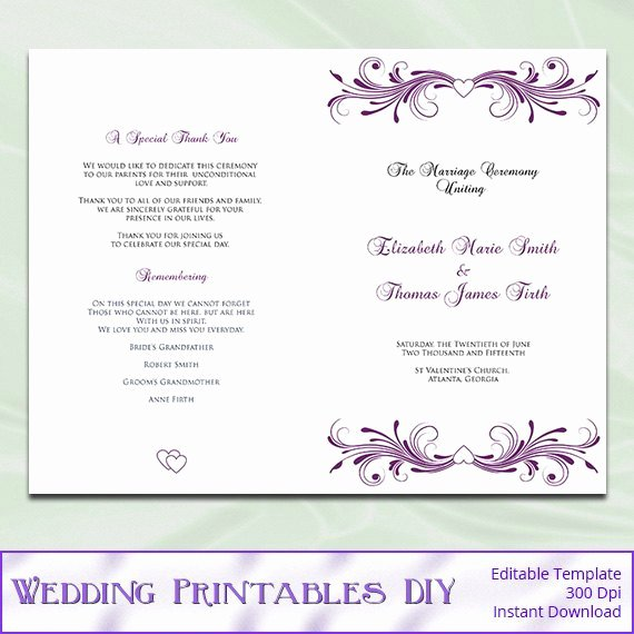 Template for Wedding Programs