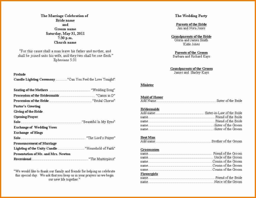 Template for Wedding Programs