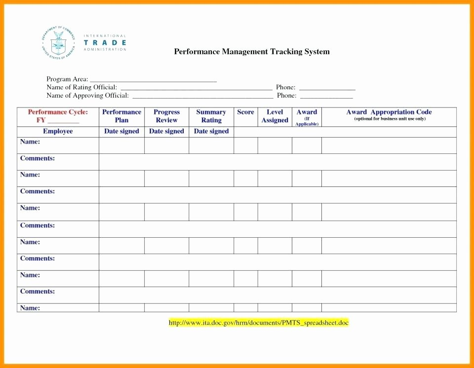 Template Free Employee Performance Tracking Template