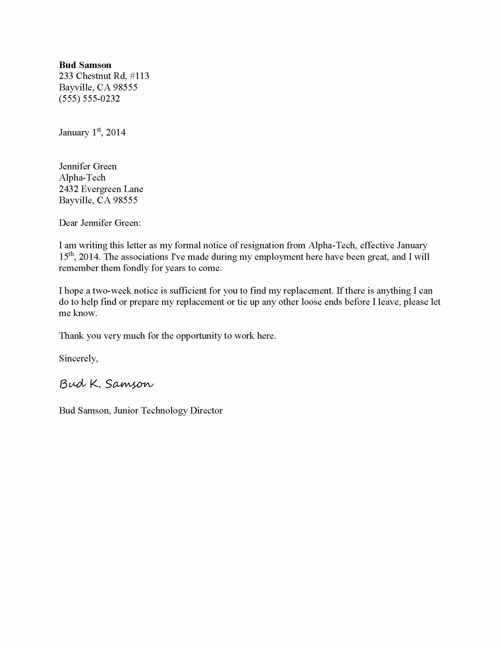 Template Friendly Resignation Letter Template