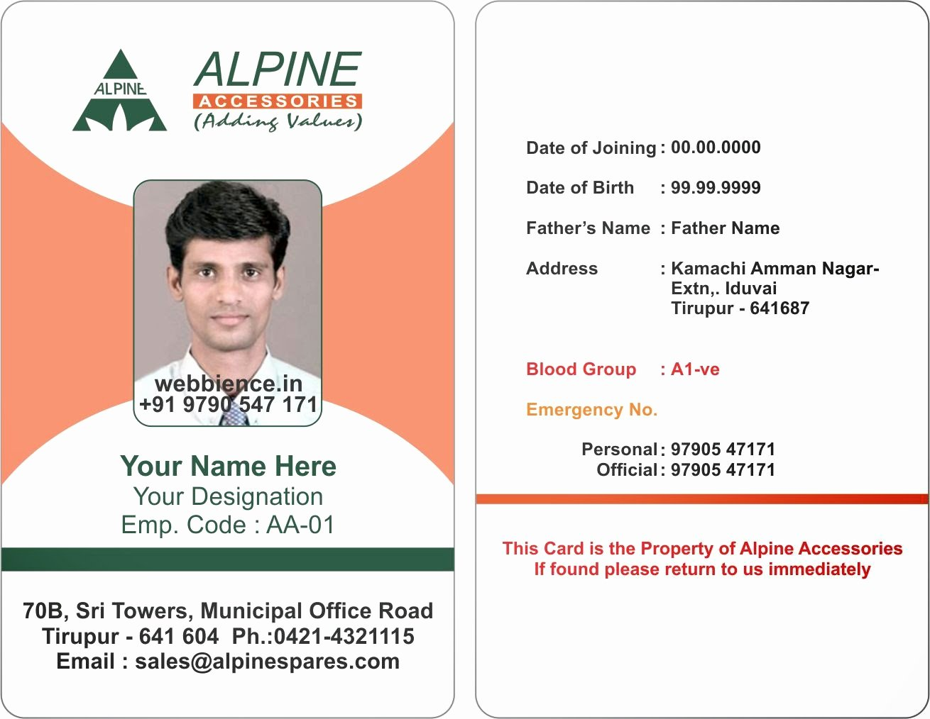 Template Galleries Employee Id Card Templates C