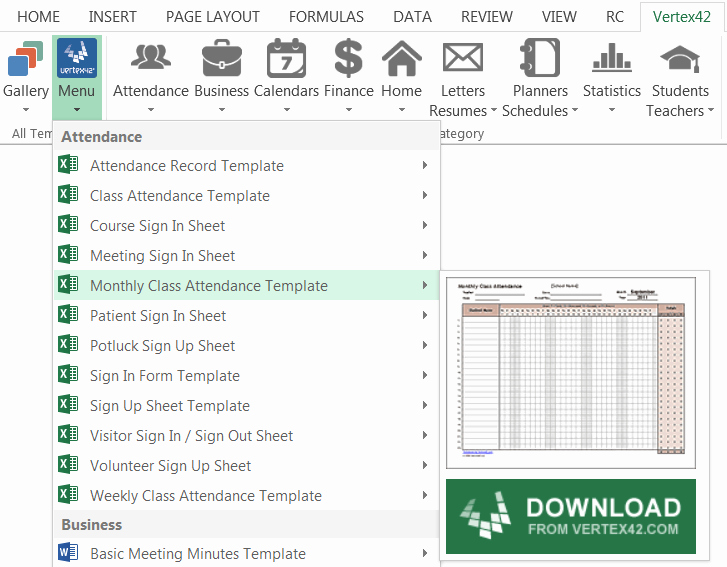 Template Gallery Add In for Excel