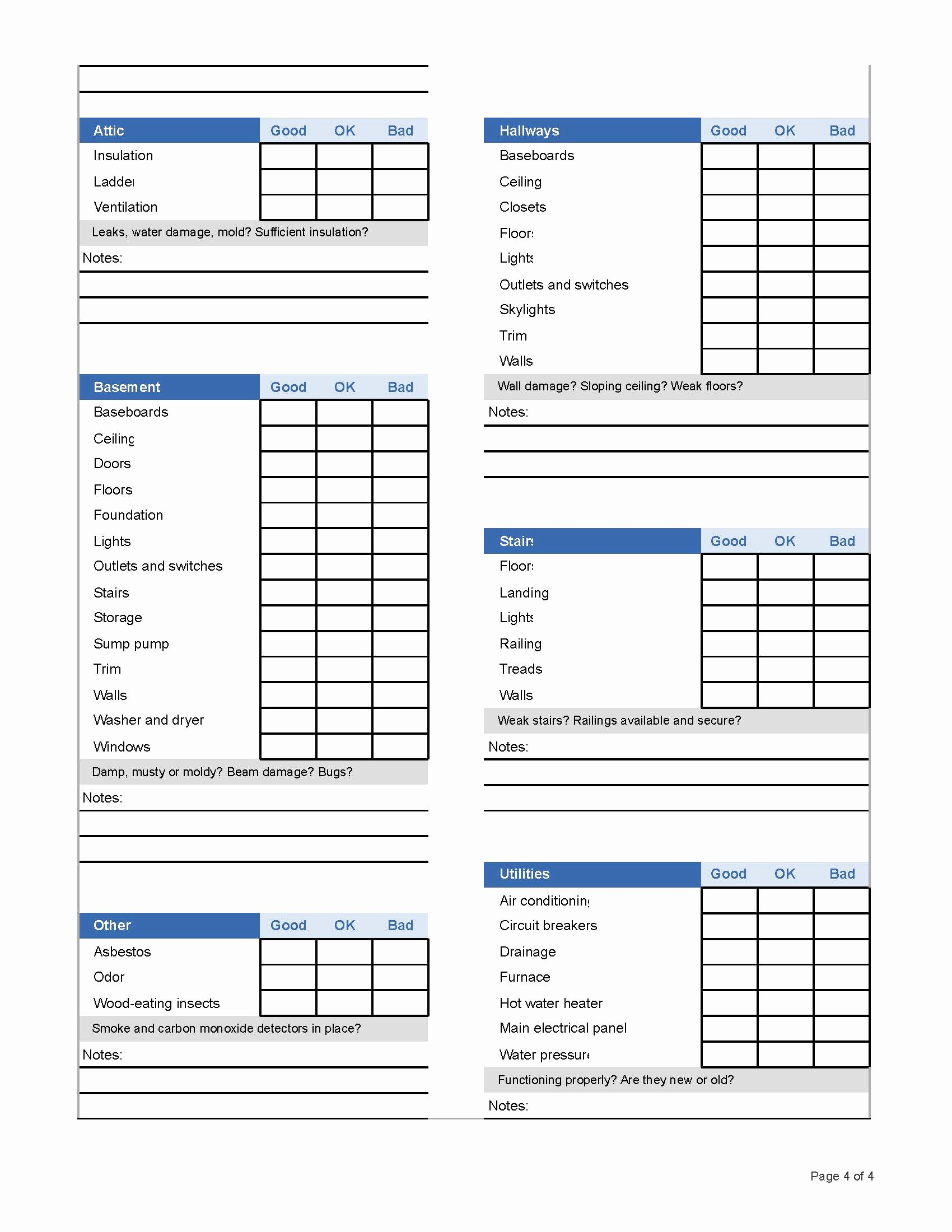 Template Home Inspection Checklist