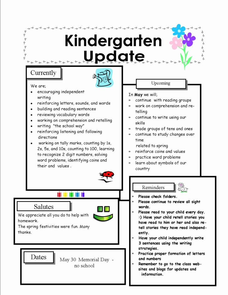 Template Kindergarten Newsletter Template