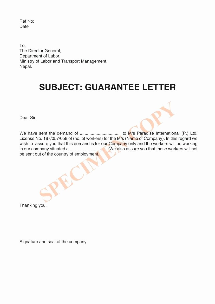 Template Letter Guarantee Template