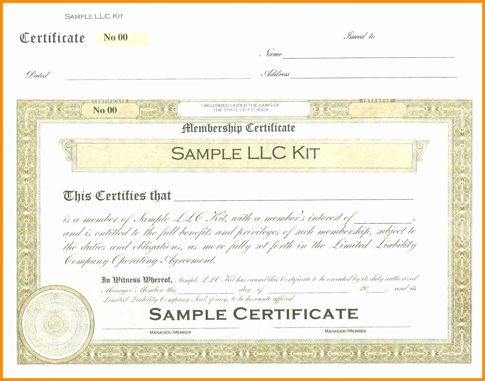 Template Llc Membership Certificate Template Certificates