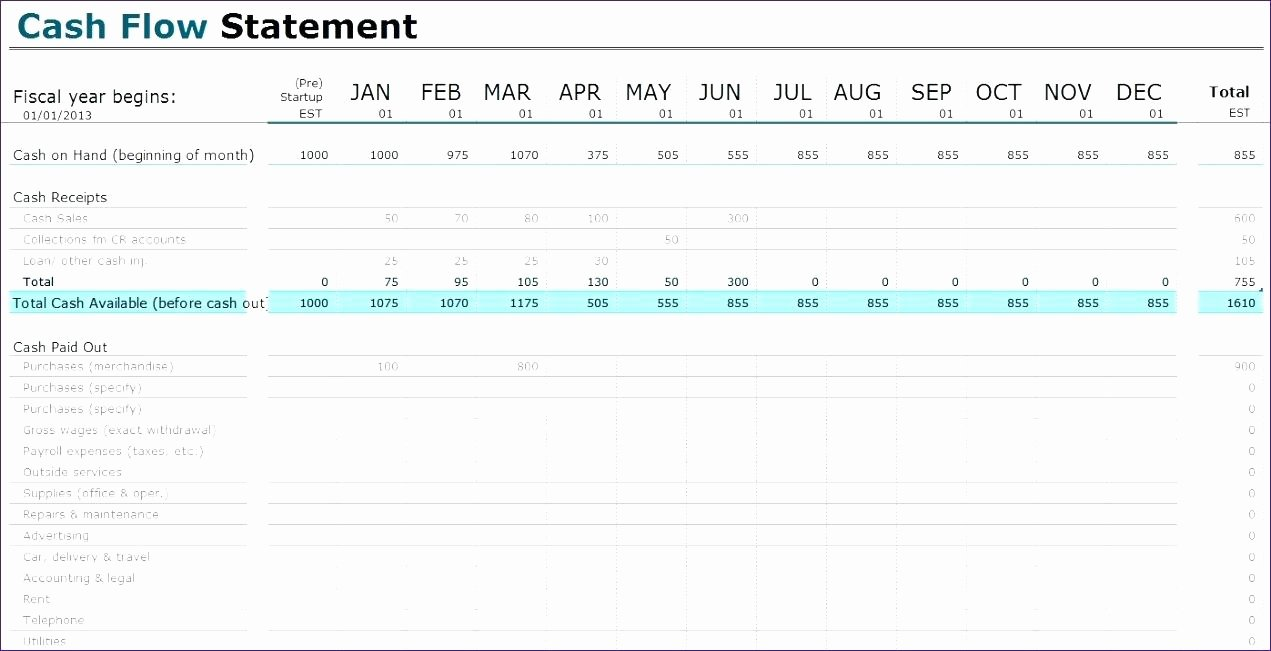 Template Monthly Cash Flow Statement Template Excel