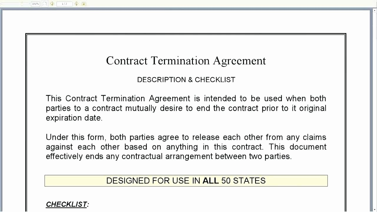 Template Mutual Termination Agreement Template