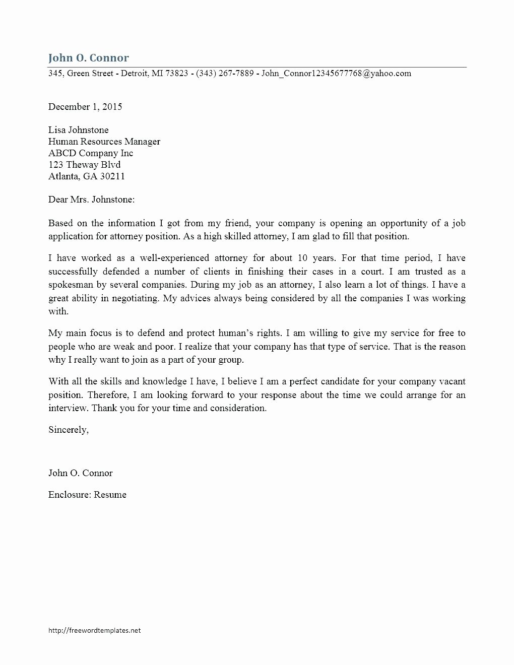Template Nanny Cover Letter Template