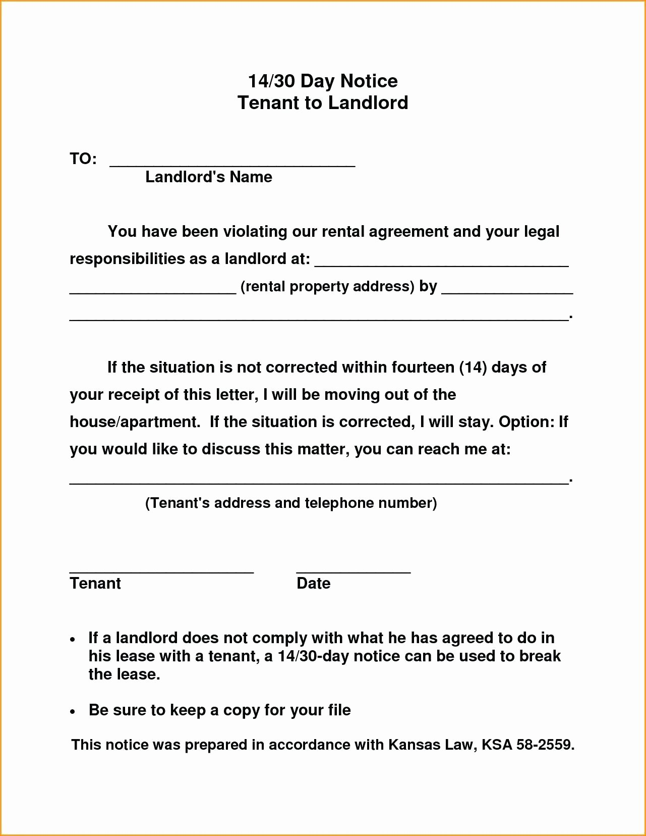 Template Notice to Quit Tenancy Template