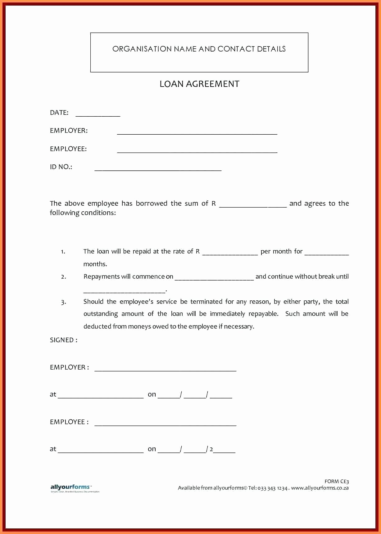 Template Personal Loan Contract Template