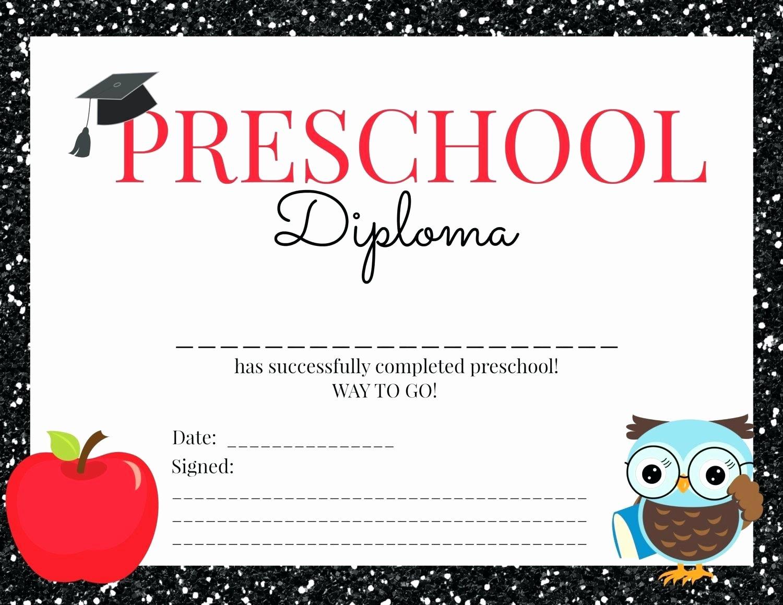 Template Preschool Certificate Template Graduation for