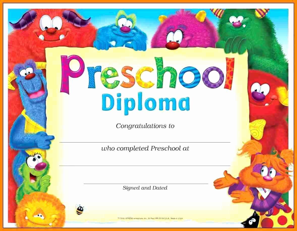 Template Preschool Certificate Template