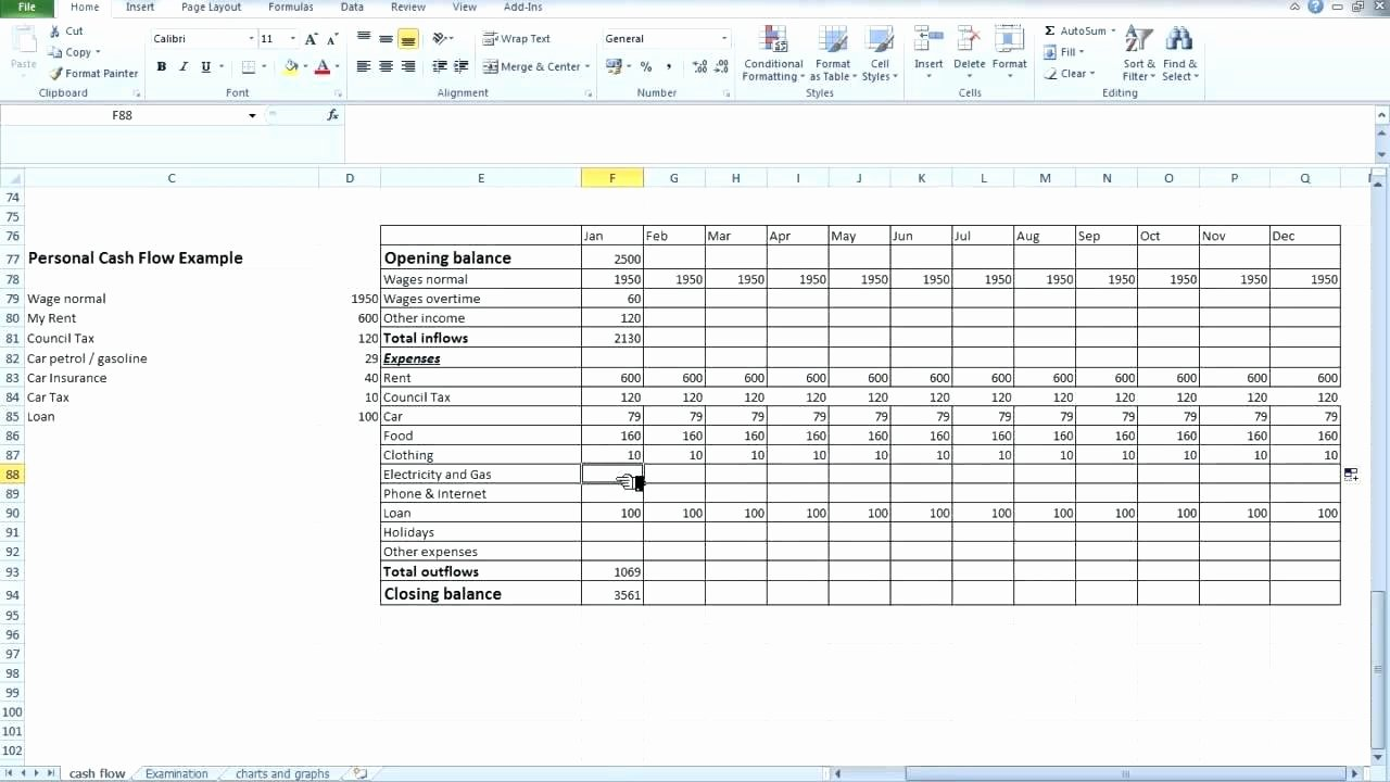 Template Projected Cash Flow Statement Template