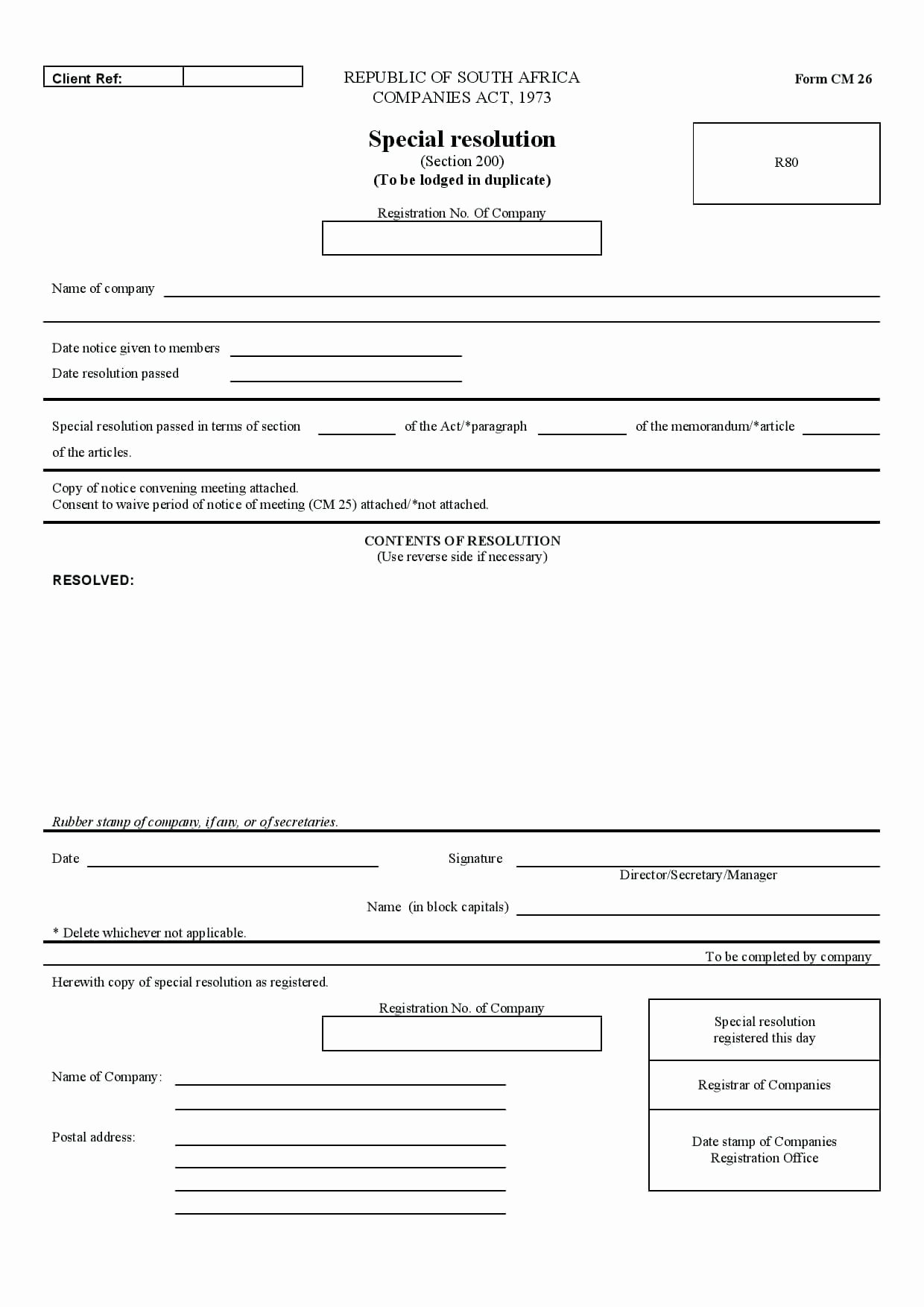 Template Proxy Voting form Template