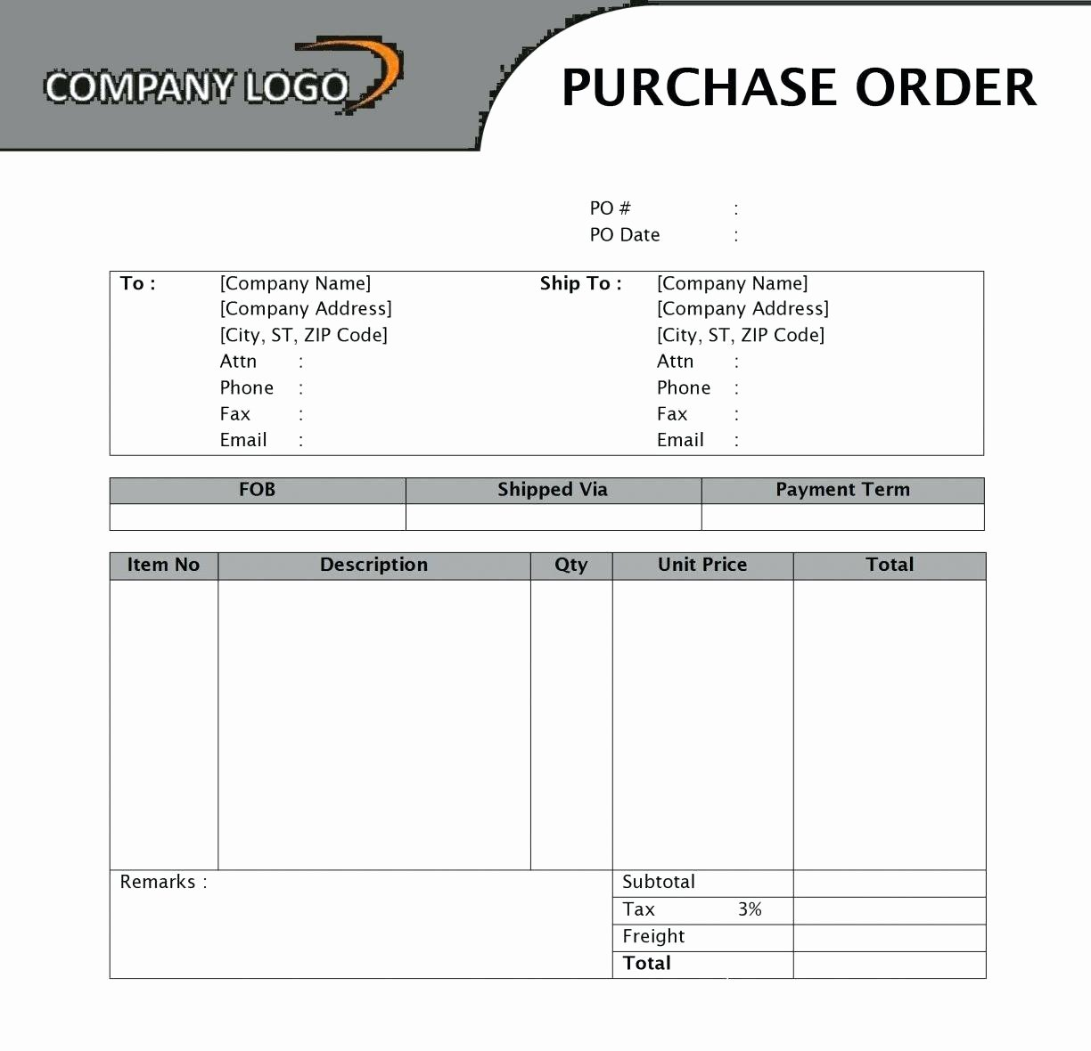 Template Purchase order Request form Template