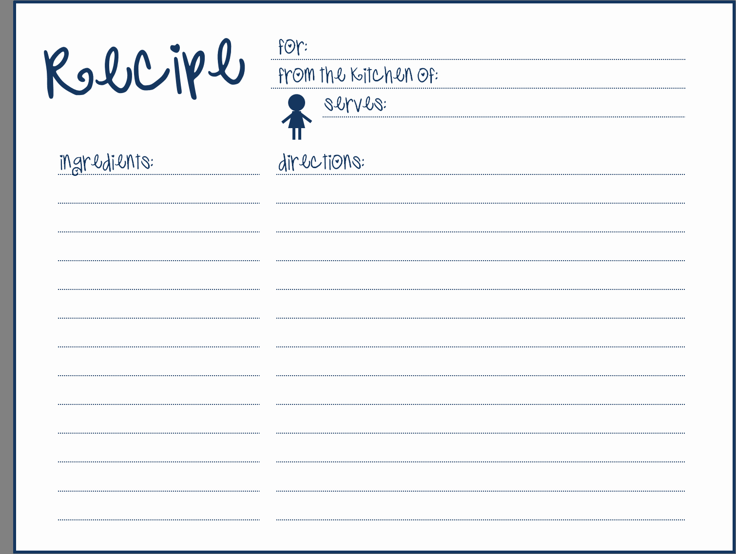 Template Recipe Card Templates