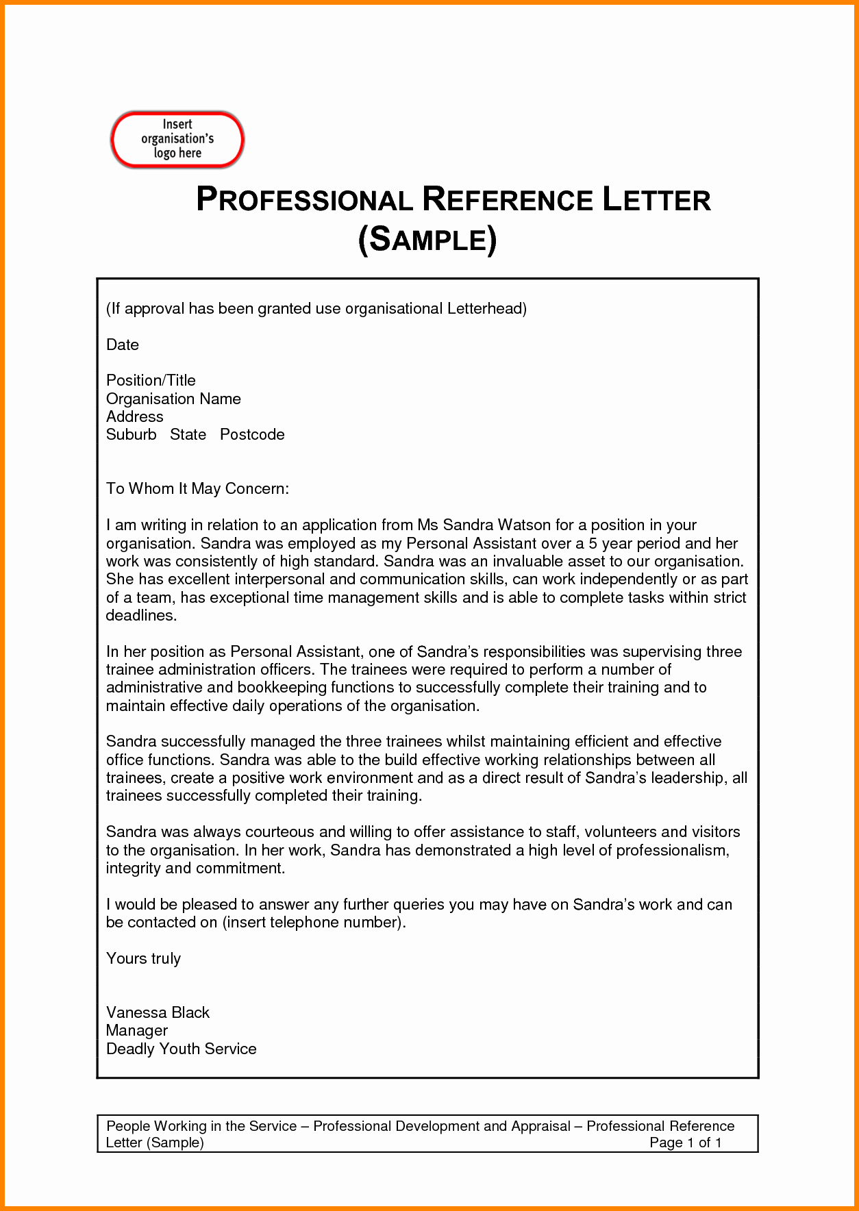 Template Reference Letter E with Sample Invoice