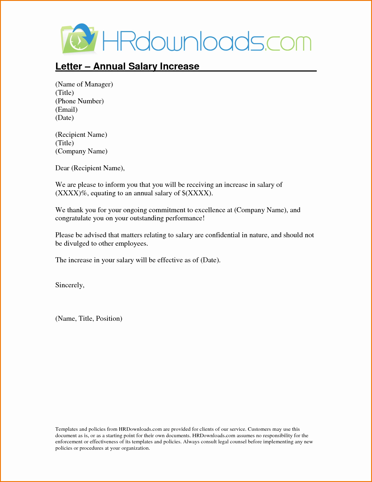 Template Salary Increment Letter Template