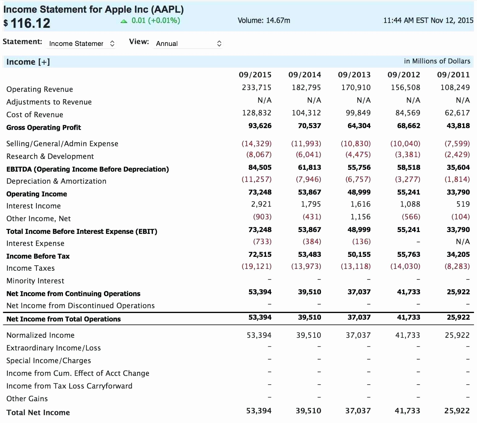 Template Simple Financial Statement Template