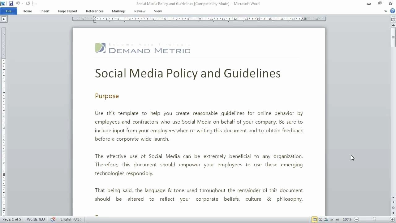 Template social Media Policy Template