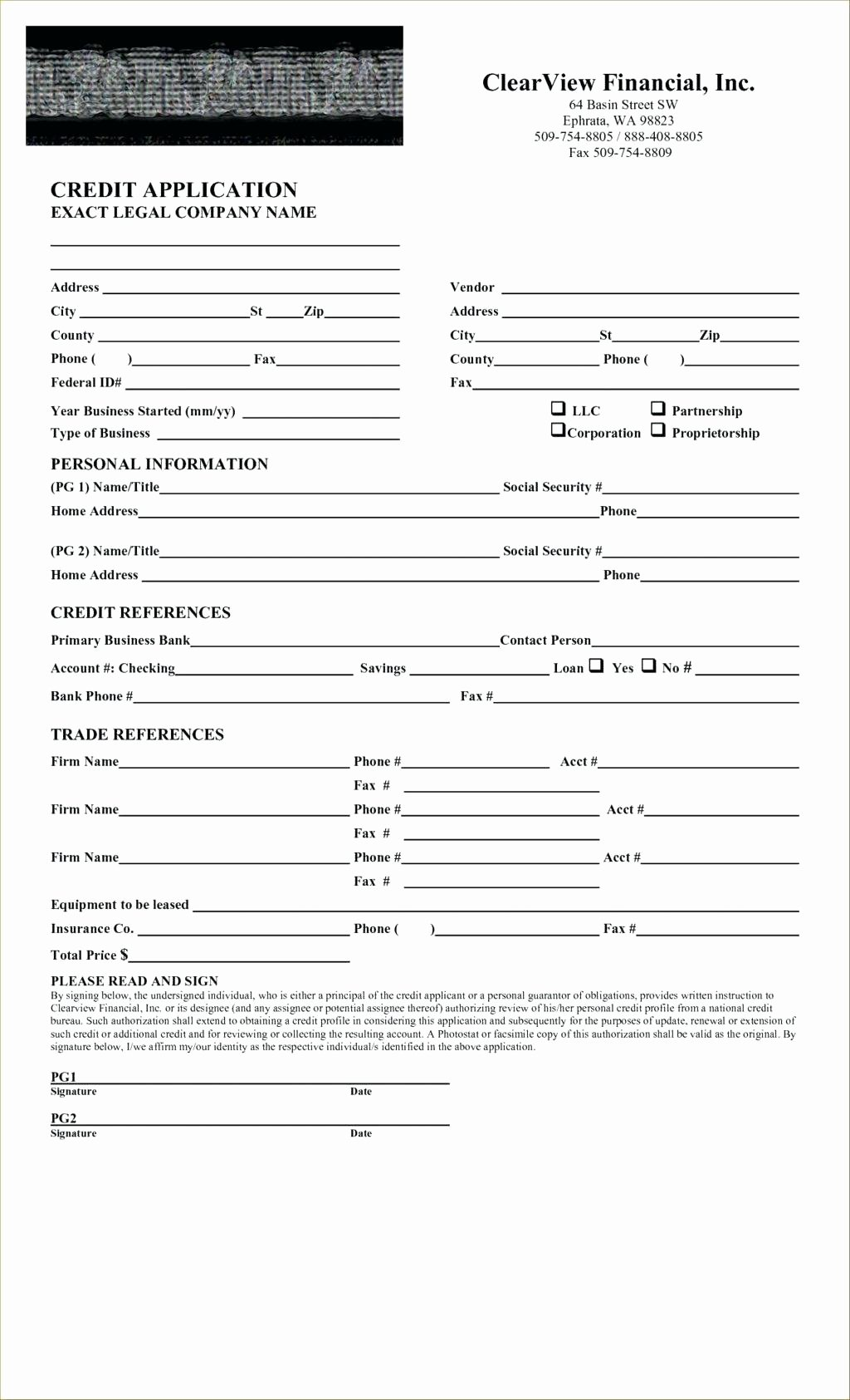 Template Standard Credit Application Template