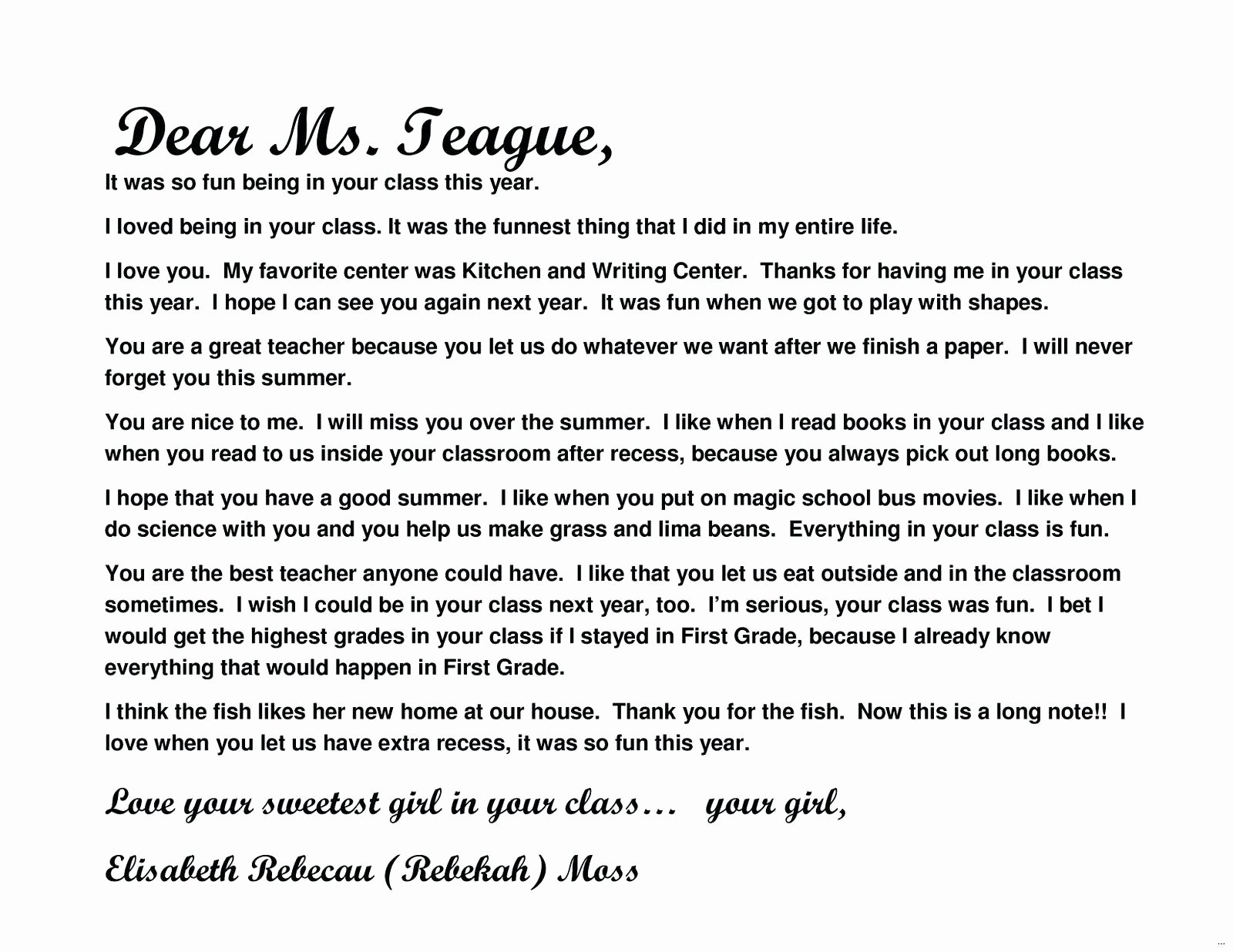 Template Teacher Appreciation Letter Template From Student