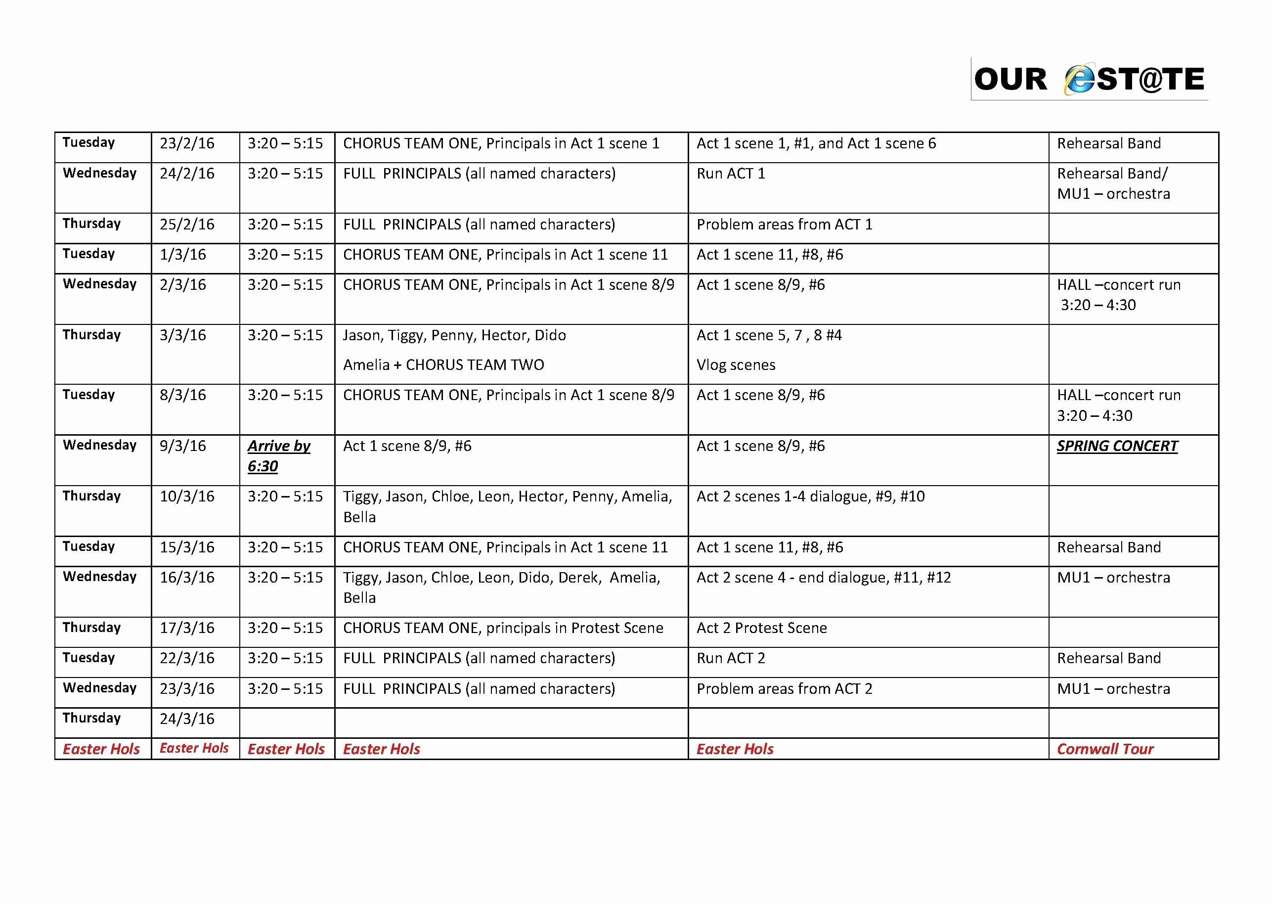 Template Team Schedule Template