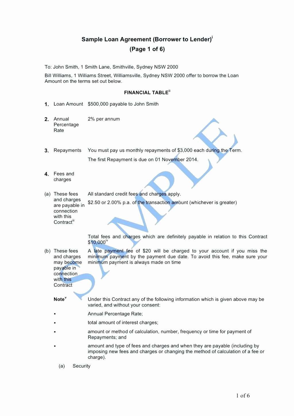 Template Template for A Loan Agreement