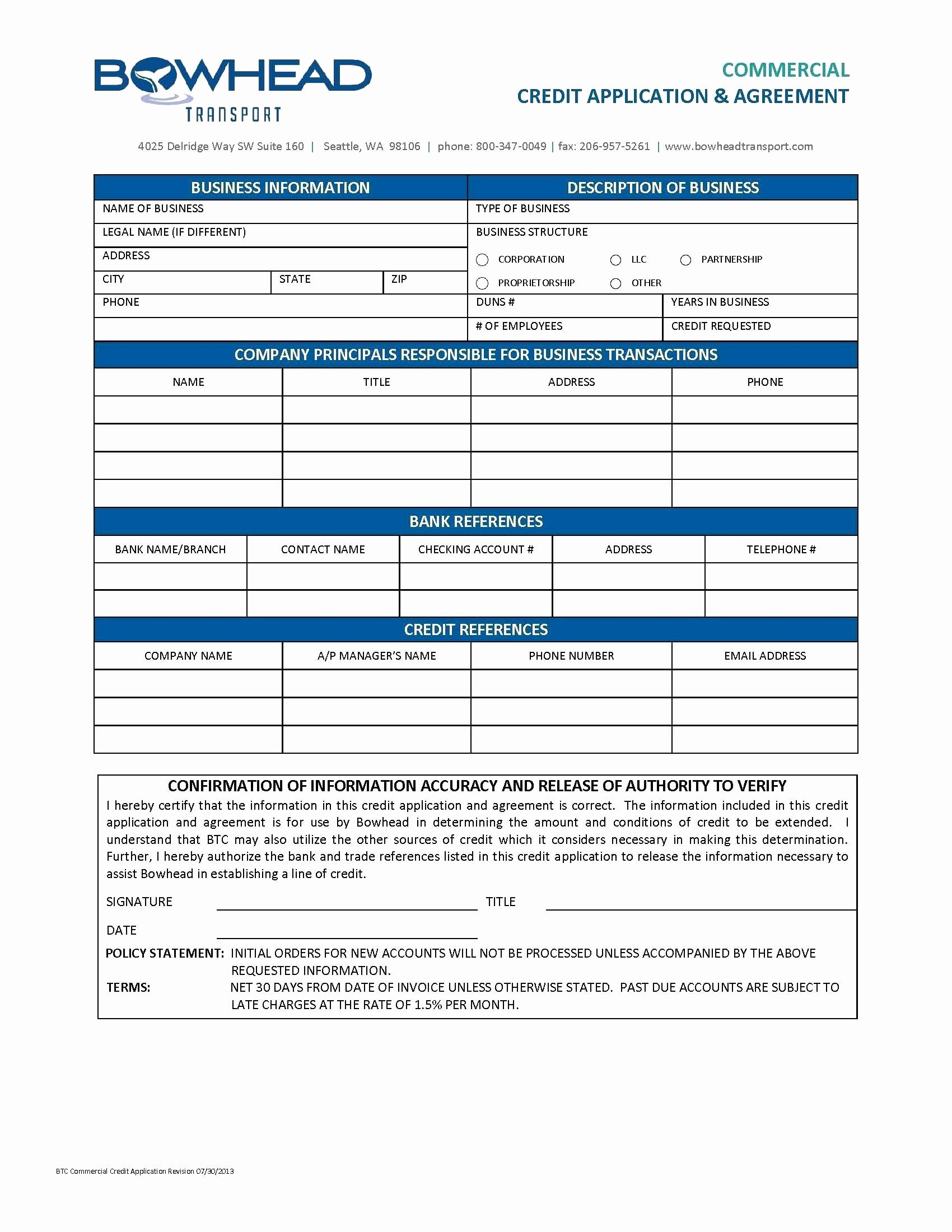 Template Template for Credit Application
