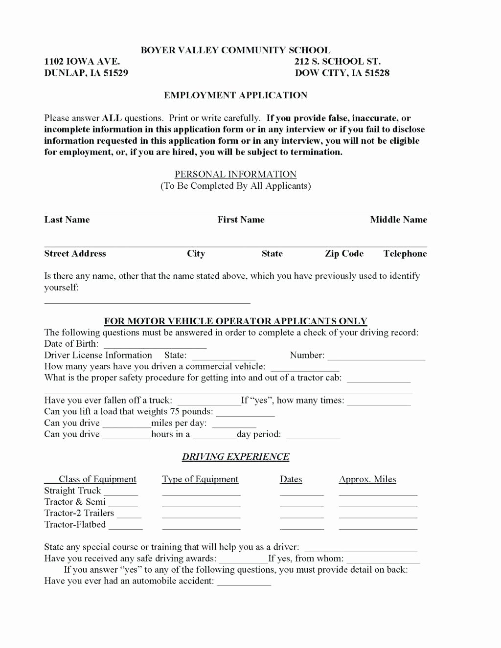 Template Truck Driver Employment Application Template
