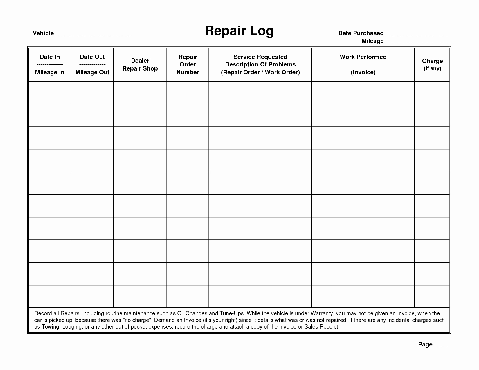 Template Vehicle Maintenance Log