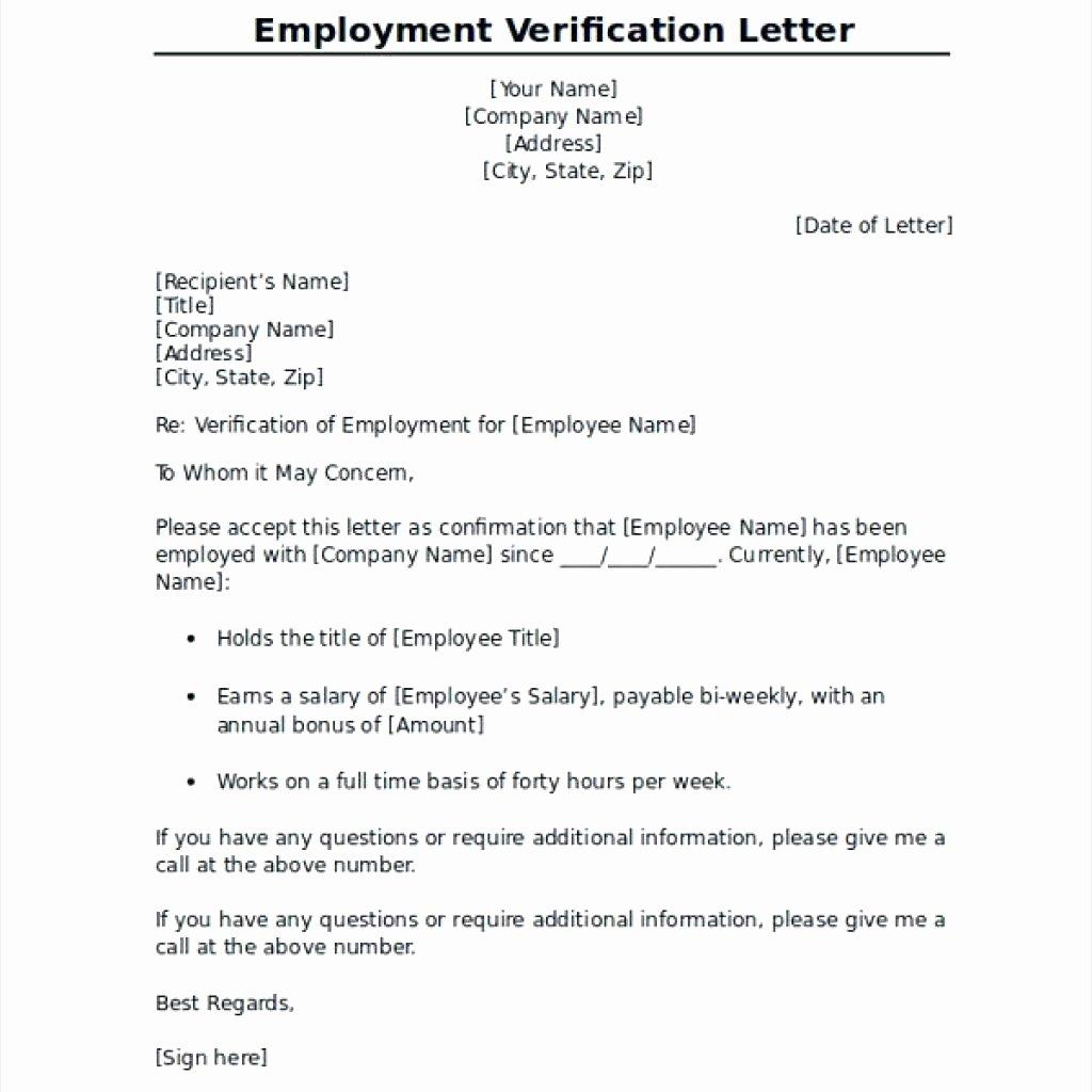 Template Verification Employment Template