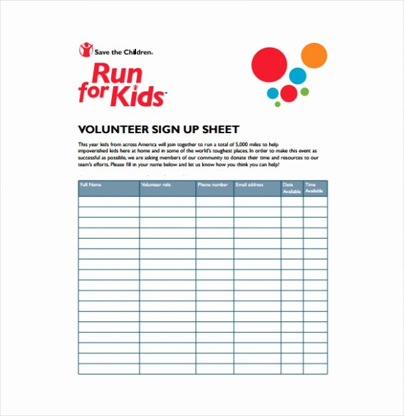 Template Volunteer Sign Up Sheet Template