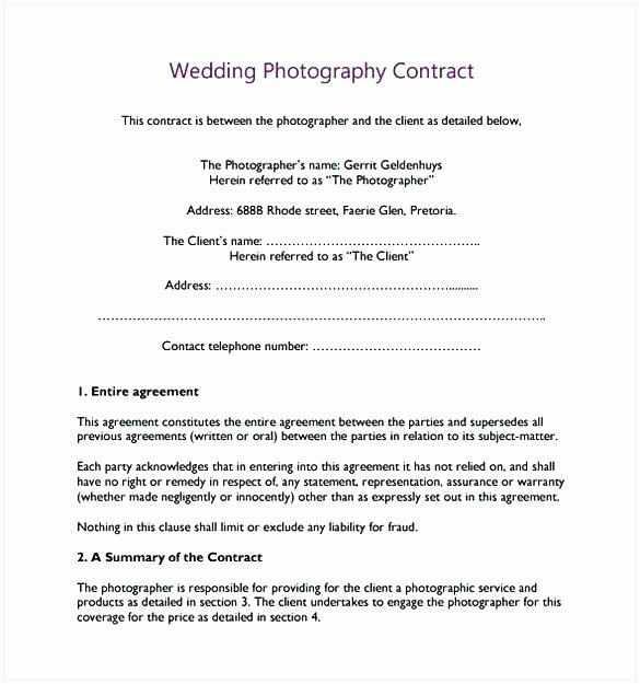 Template Wedding Graphy Contract Template Word