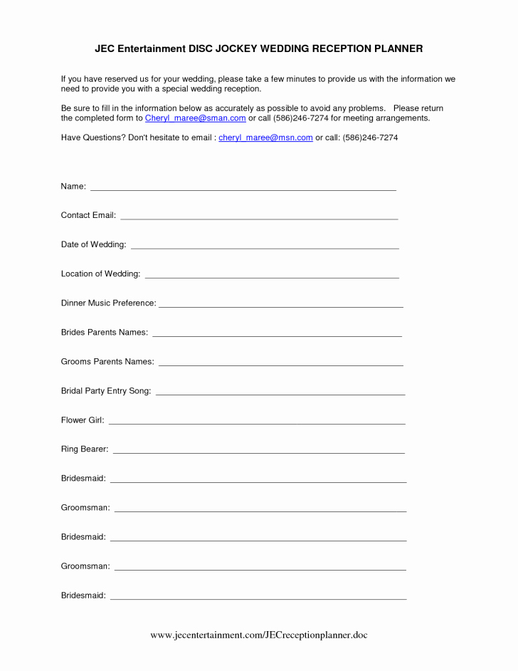 Template Wedding Reception Itinerary Template