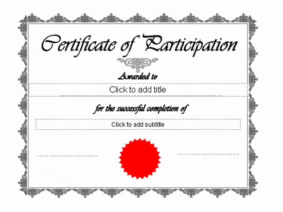 Templates Certificates Certificate Participation