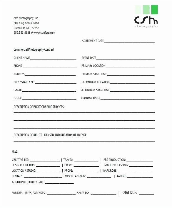 Templates In C Program Wedding Graphy Contract