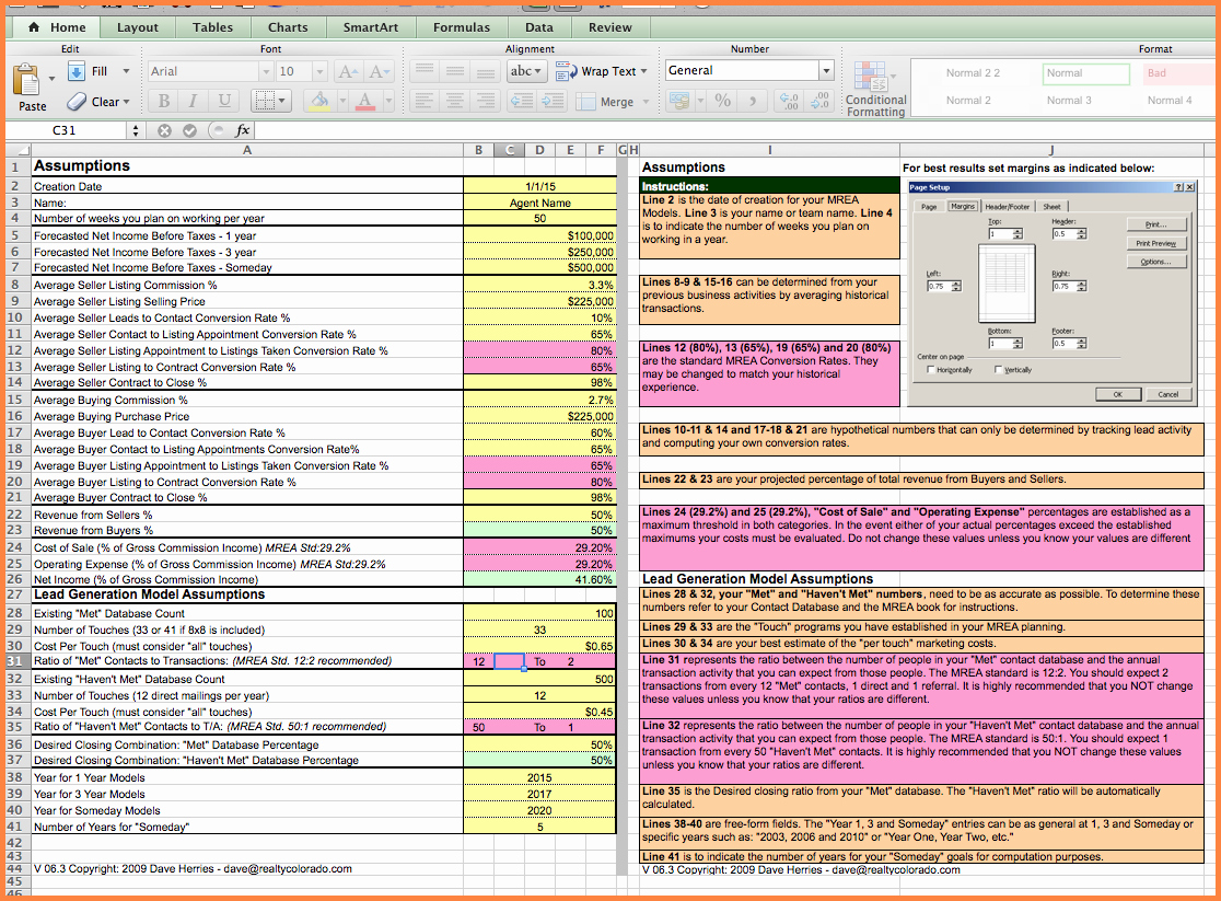Templates Real Estate Agent Expenses Spreadsheet
