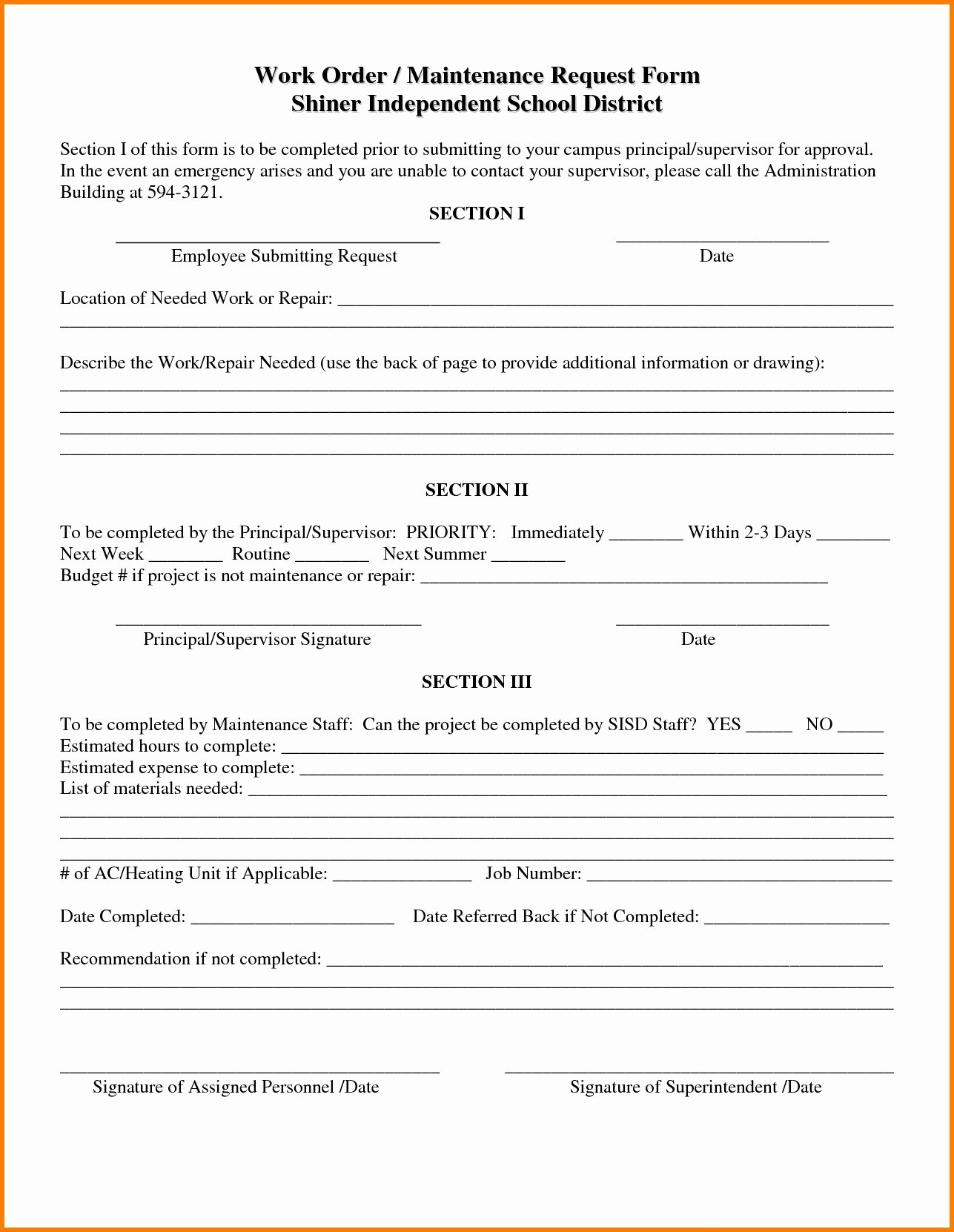 Tenant Repair Request form Template April Onthemarch