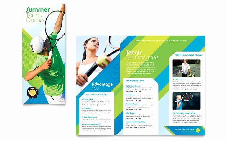 Tennis Club & Camp Tri Fold Brochure Template Word