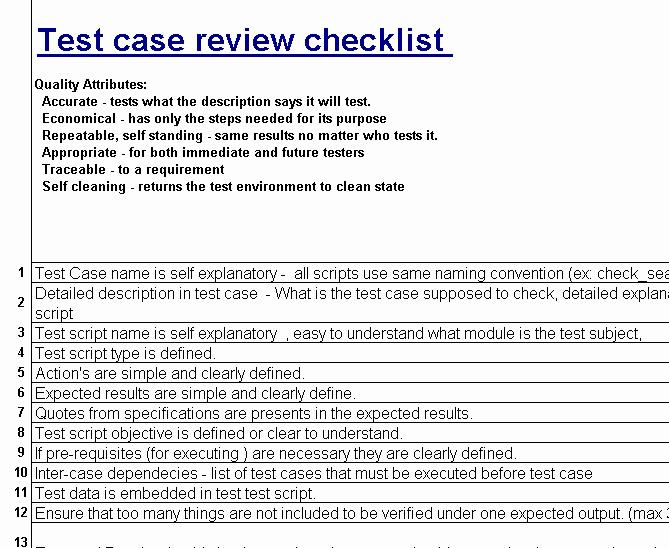 Test Case Review Checklist