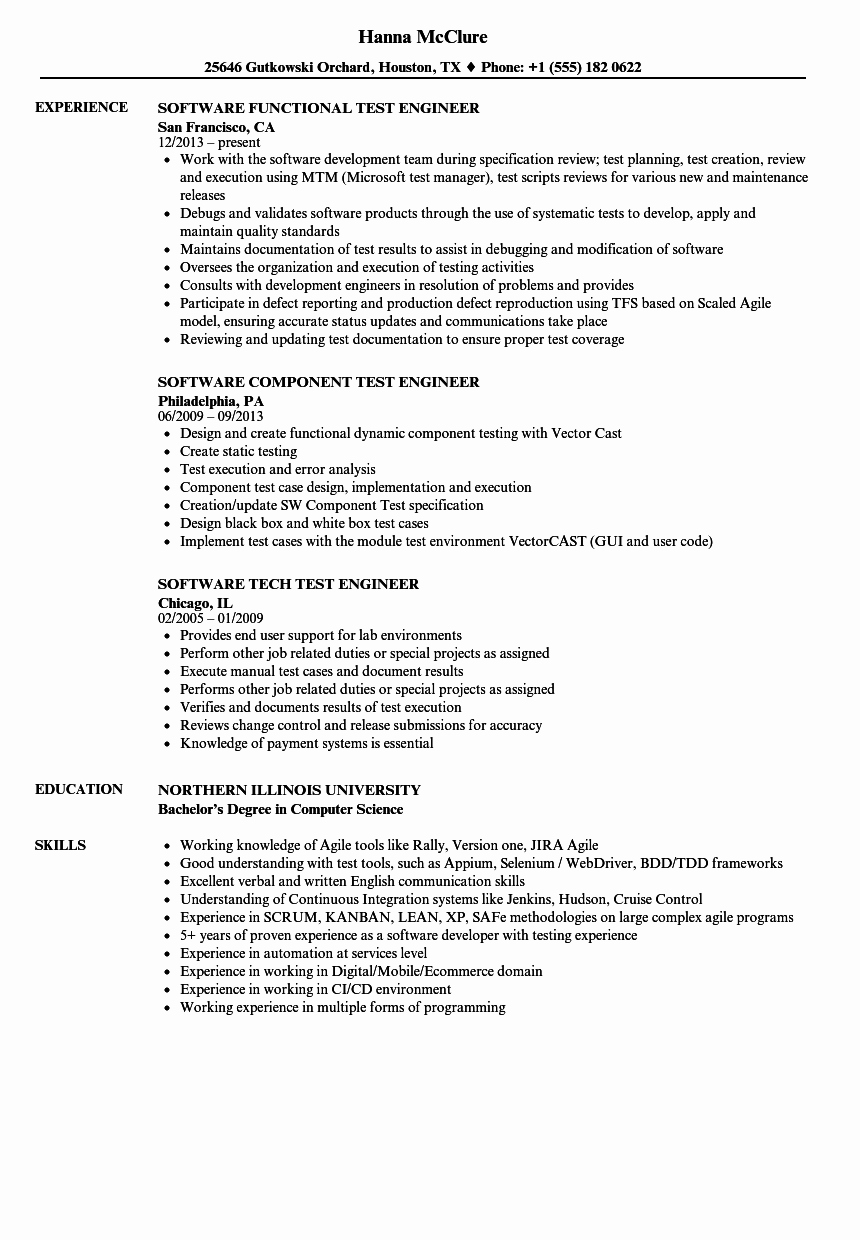 Test Engineer software Resume Samples