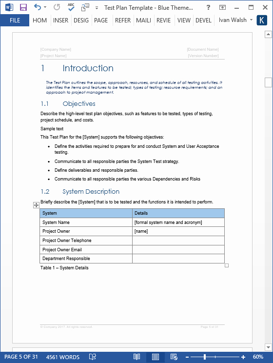 Test Plan Templates 29 Page Ms Word 3 Excel Spreadsheets