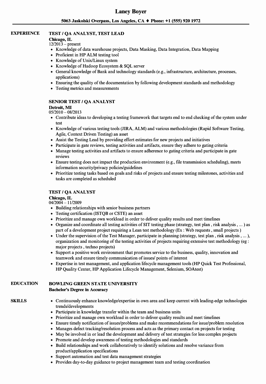 Test Qa Analyst Resume Samples