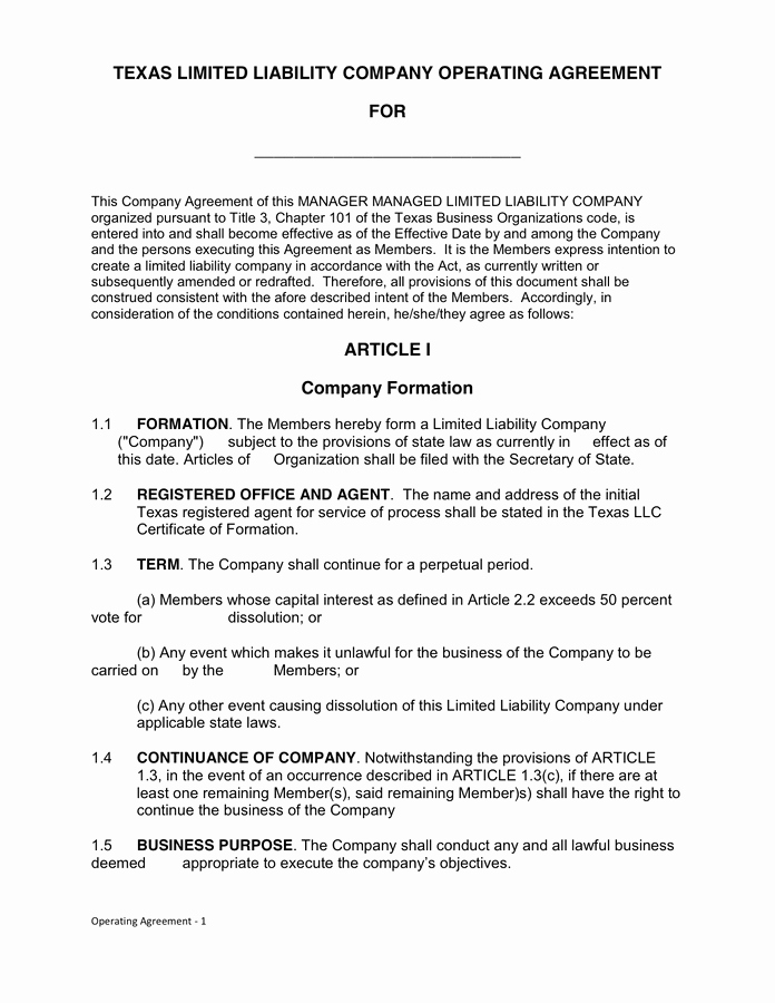 Texas Llc Operating Agreement In Word and Pdf formats