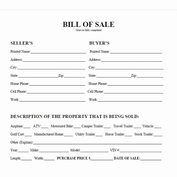 Texas Motor Vehicle Bill Of Sale