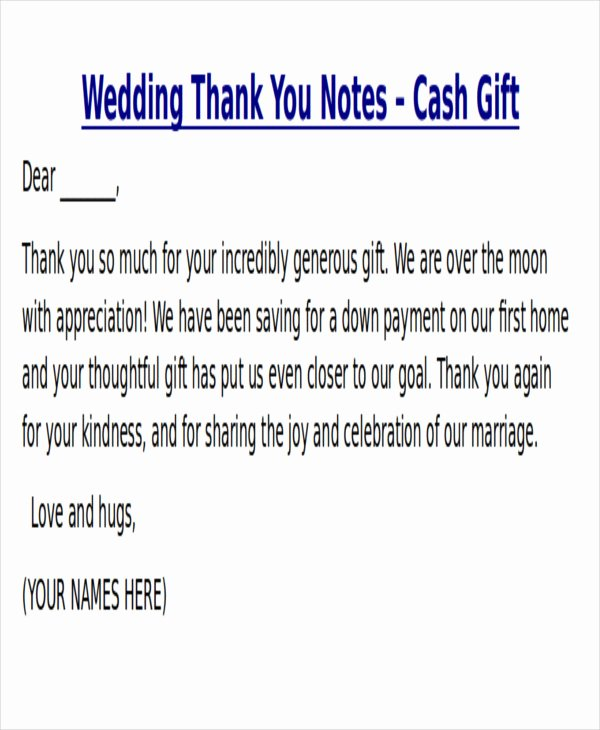Thank You Card Wording for Money Gifts – Gift Ftempo